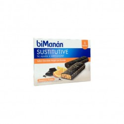 Bimanan Sustitutive Barritas Sabor Chocolate Negro y Naranja 8 Unidades