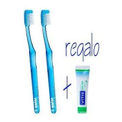 Duplo Vitis Cepillo Dental Medio, 2Ud + Regalo Pasta Vitis, 15ml