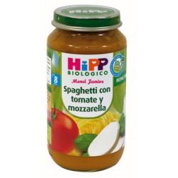 Biological Hipp Potito. Spaghetti al pomodoro e mozzarella. Menu Junior 8 mesi.