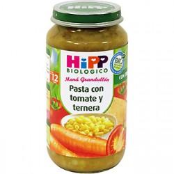Biological Hipp Potito. Pasta con pomodoro e carne di manzo. Menu + 12 mesi.