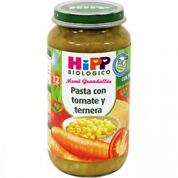 Hipp Potito Biológico. Pasta con tomate y ternera. Menú Grandullón +12meses.
