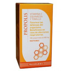 Própolis mastigável vitamina C, equinácea e tomilho. Valefarma .
