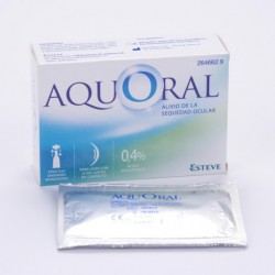 Aquoral lubricating eye drops. Esteve.