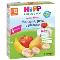 Bolsitas pouche de manzana, pera y plátano. Hipp Biológico.