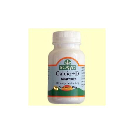 Calcio + Vitamina D - 100 comprimidos masticables - Sotya